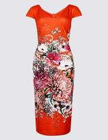 Marks and Spencer Floral Print Short Sleeve Bodycon Midi Dress