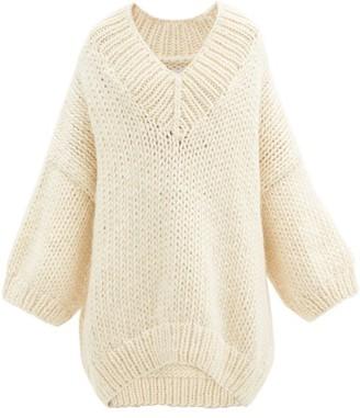Mr. Mittens V-neck Dropped-shoulder Wool Sweater - Ivory