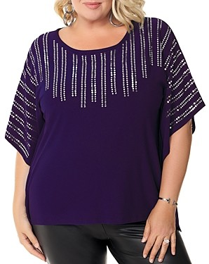 Belldini Plus Sequined Poncho-Style Top