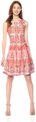 Gabby Skye Women's Cap Sleeve Coral and Turq Pattern Dress
