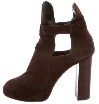 Celine Suede Cutout Ankle Boots