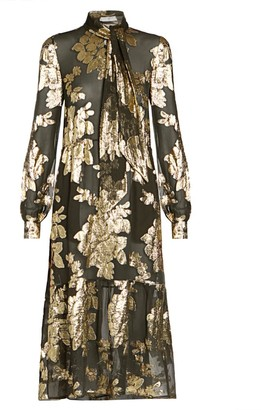 Saint Laurent Sheer Metallic Floral Midi Dress