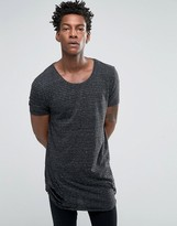 Asos Super Longline T-Shirt With Curved Hem And Distress