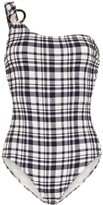Solid & Striped Juliana one-shoulder gingham-print swimsuit