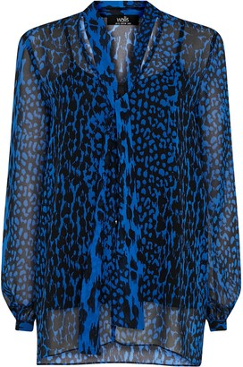 Wallis **TALL Blue Animal Tie Neck Blouse
