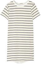 Clu Washed Silk-paneled Striped Cotton-blend Mini Dress - Ivory