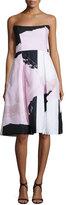 Nicholas Strapless Paint-Floral Ball Dress, Black