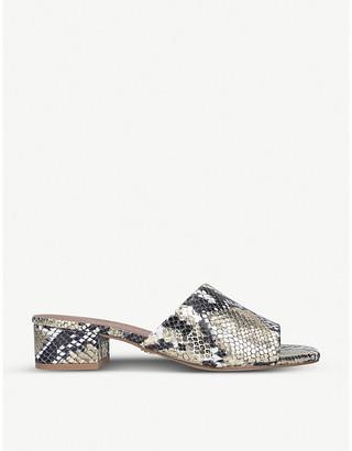 Kurt Geiger London Palma snakeskin-embossed leather heeled mules
