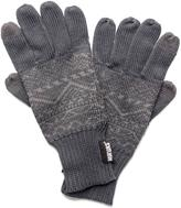 Muk Luks Men's Pattern Gloves with Texting Thumb and Fingers - Grey