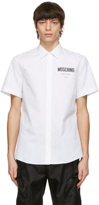 Moschino White Poplin Logo Short Sleeve Shirt