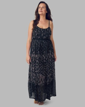Soma Intimates Pleated Mesh Maxi Dress With Built-In Bra