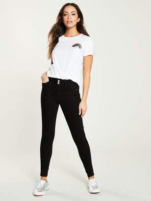 Very Long Shaping Skinny Jeans - Black