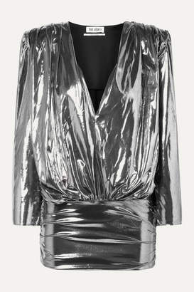 ATTICO Draped Stretch-lame Mini Dress - Silver