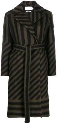 Closed stripe belted coat