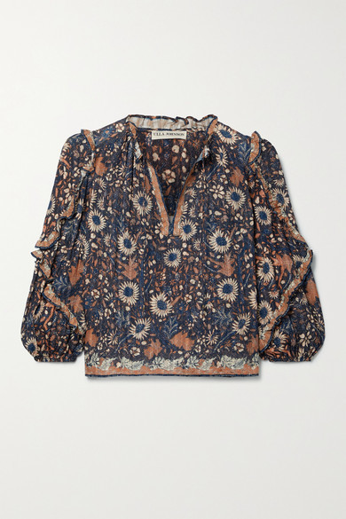 Ulla Johnson Manet Ruffled Floral-print Cotton-blend Voile Blouse - Brown