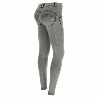 Freddy WR.UP Regular-Rise Super Skinny Trousers in Light Jersey Denim - Gray Jeans-Yellow Seams - Medium