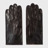 Paul Smith Men's Black Leather Signature Stripe Trim Gloves
