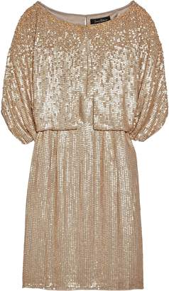 Jenny Packham Layered Sequined Silk-georgette Dress