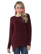 Lynz Pure Women's Cable Knit Sweater Crewneck Split High Low Pullover Tops Red M