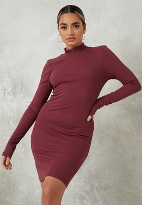 Missguided Burgundy Rib High Neck Mini Dress