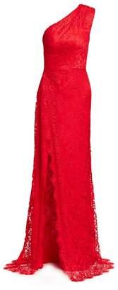 Monique Lhuillier One-Shoulder Sleeveless Lace Side Slit Gown