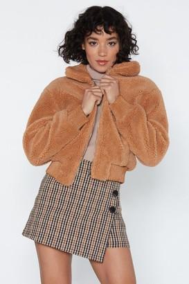 Nasty Gal Womens Make a Break Fur It Faux Fur Jacket - Camel