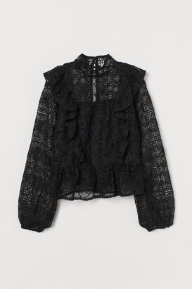 H&M Flounced Lace Blouse - Black