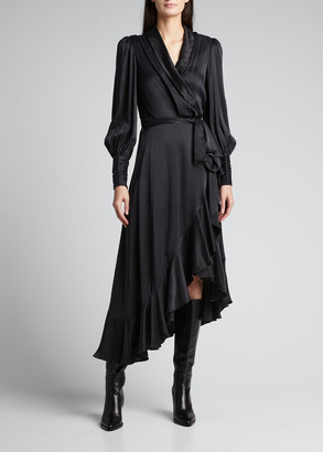 Zimmermann Silk Midi Wrap Ruffle Dress