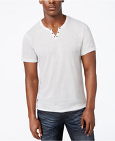 INC International Concepts Men's Heathered Split-Neck T-Shirt, Created for Macy's