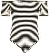 River Island Girls Black stripe frill ribbed bodysuit