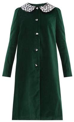 Batsheva Leopard Print Collar Cotton Velvet Swing Coat - Womens - Green