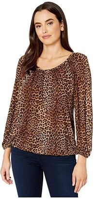 MICHAEL Michael Kors Core Per Leopard Peasant Top (Toffee) Women's Clothing