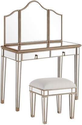 Decor Central Chair and 2 Drawers Vanity Table with Mirror