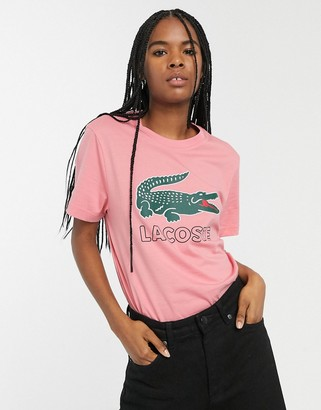 Lacoste t-shirt with retro croc logo-Pink
