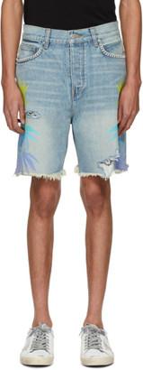 Amiri Indigo and Multicolor Denim Leaves Shorts