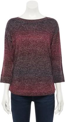 Croft & Barrow Women's 3/4 Sleeve Ombre Boatneck Sweater