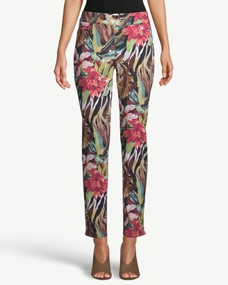 So Slimming Brigitte Tropical-Print Slim Ankle Pants