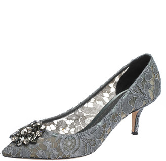 Dolce & Gabbana Grey Crystal Embellished Lace Bellucci Pointed Toe Pumps Size 39