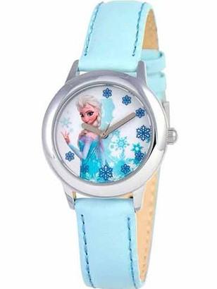 Disney Snow Queen Elsa Girls' Stainless Steel Watch, Light Blue Strap