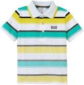 HUGO BOSS Striped Pique Polo (Toddler/Kid) - Green - 3A