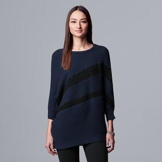 Vera Wang Women's Simply Vera 3/4 Sleeve Ribbed Pullover
