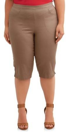 Just My Size Women's Stretch Denim Pull-On 2 pocket Capri Pants