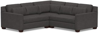 Pottery Barn York Deep Seat Square Arm Leather 3-Piece Corner Sectional with Bench Cushion