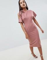 Asos Design DESIGN eyelet cold shoulder pencil dress