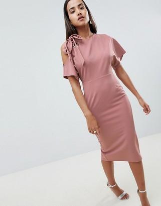 Asos Design DESIGN eyelet cold shoulder pencil dress-Pink