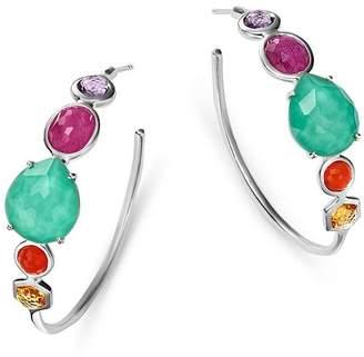 Ippolita Sterling Silver Rock Candy Turquoise Doublet & Multi Gemstone Hoop Earrings
