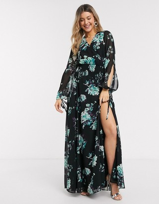 Asos DESIGN shirred maxi dress in two scale floral print
