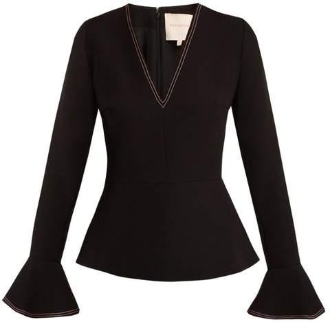 Roksanda - Prila V Neck Fluted Sleeve Crepe Top - Womens - Black Pink