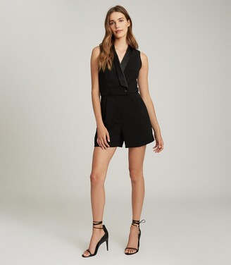 Reiss Georgia - Tuxedo Front Playsuit in Black