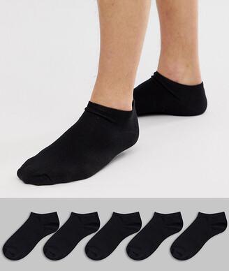 New Look sneaker socks in black 5 pack
